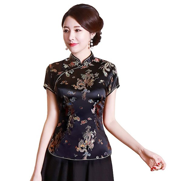 Black With Dragon Embroidery