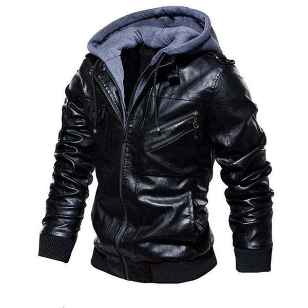 Men Leather Jacket Winter Motorcycle Pu Leather Male Autumn Fleece Bomber Jacket Outerwear Faux Leather Coat Outwear Windbreaker Size S-4XL