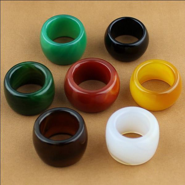 7 Farben großhandel Chinese Natural onyx jade handgeschnitzter mann ring