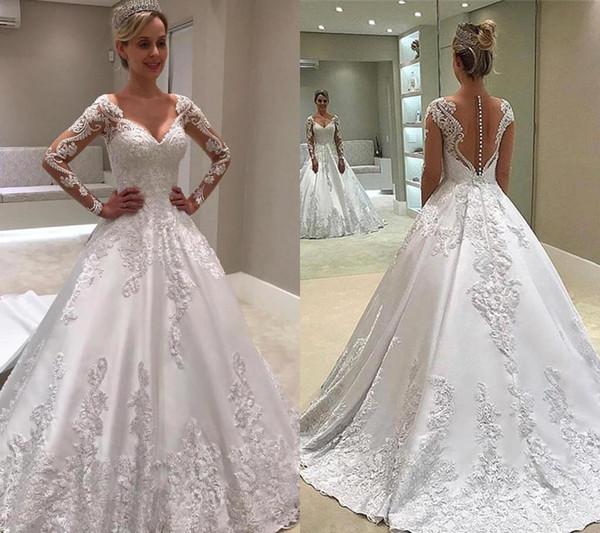 Weiß Lange Ärmel Backless Brautkleider 2019 Eine Linie Appliques Country Garden Formale Braut Brautkleider Nach Maß Plus Size