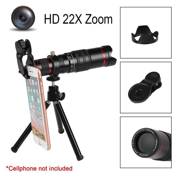 wholesale HD 4K Mobile Phone 22x Camera Zoom Optical Telescope Telephoto Lens For Samsung For Iphone Huawei Universal Smartphone