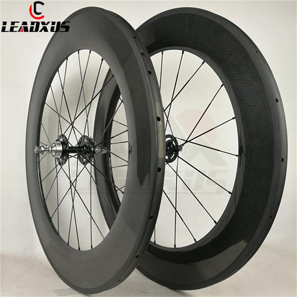 LEADXUS Full Carbon Fiber 88mm Track Wheels Fixed Gear Carbon Wheels 23mm Width Single Speed Carbon Bike Wheelset