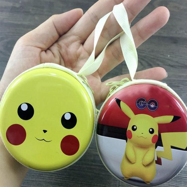Nouveau Pikachu Porte-Monnaies Bande Dessinée Rond De Fer Mini Portefeuilles Porte-Clé Porte-Casque Sacs Sacs XMAS Jouets Party Favour Cadeaux XD20204