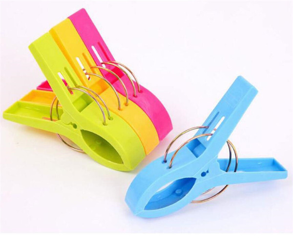 top popular 11.5 cm Large Bright Colour clothes Clip Plastic Beach Towel Pegs clothespin Clips to Sunbed Multicolor 2021