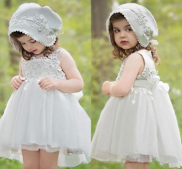 Marfim Lace Appliqued Baby Girl vestido de festa Formal Barato Pricess Flower Girl Vestidos Cute Baby Girl Pageant Vestidos de casamento