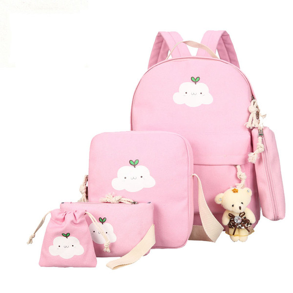 2019 New Canvas School Bag Clouds Printing Women Backpack High Quality School Bags For Teenage Girls Cute Bookbags Mochila 5 Set Y19062401