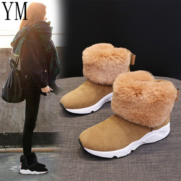 Women Flats Ankle Snow Boots Fur Boots Winter Warm Snow Shoes