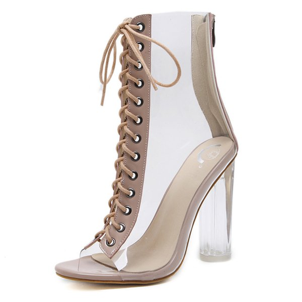Mulheres Lace-up Peep-toe Plataforma Cunha Transparente Cristal Super Coberto Sandálias De Salto Alto Sapatos