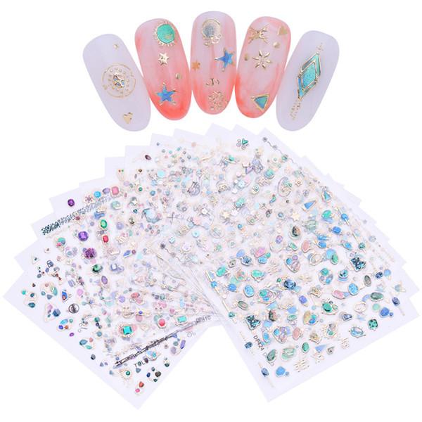 Art Rhinestones Decorations 3D Nail Sticker Gem Stone Jewel Adhesive Decals Nail Art Decoration Manicure DIY Design for UV Gel Polish