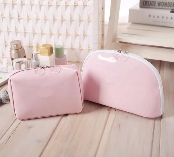 Regalo VIP Moda rosa bolsa de maquillaje 2pcs un conjunto famoso patrón de belleza caso cosmético fiesta de lujo bolsa de maquillaje organizador elegante bolso de embrague