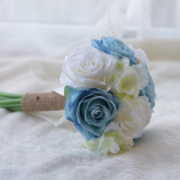 Novo Design Artificial Pequeno Dama de Honra Segurando Flores Bouquets De Noiva Flores Do Casamento Do Casamento Com Fita Fontes Do Casamento Barato