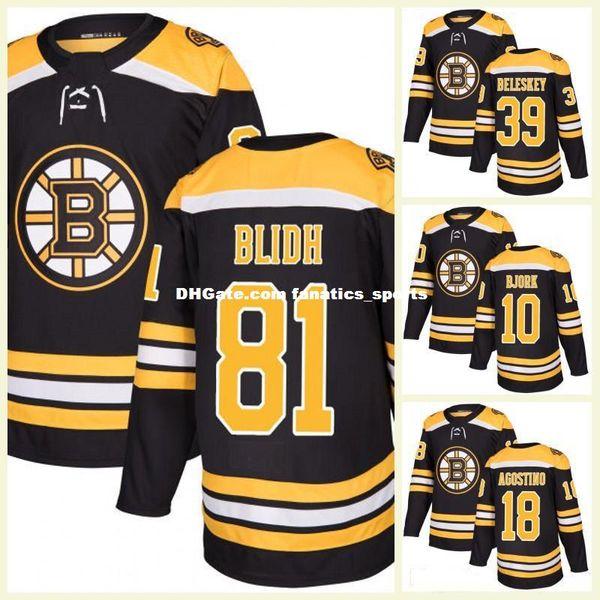 2017 New Mens Boston Bruins 18 Kenny Agostino 39 Matt Beleskey 81 Anton Blidh 10 Anders Bjork in bianco Maglia da hockey su ghiaccio T-shirt sportiva