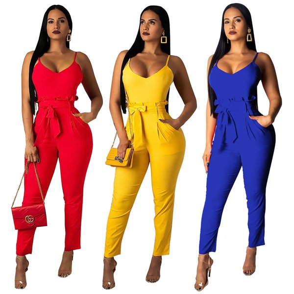 Q221 modèles européens et américains d'explosion de femmes combinaison de fronde de couleur unie taille dentelle (avec ceinture)