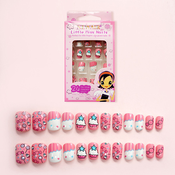 24 Pcs Cute Candy Cake Pattern Fake Finger Pink Children False Nails Tip Pre glue Press on False Nails for Children