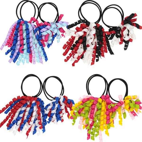 Girl A-korker Ponytail holders korkers Curly ribbons streamers corker hair bobbles bows flower elastic school boosters headwear FJ390