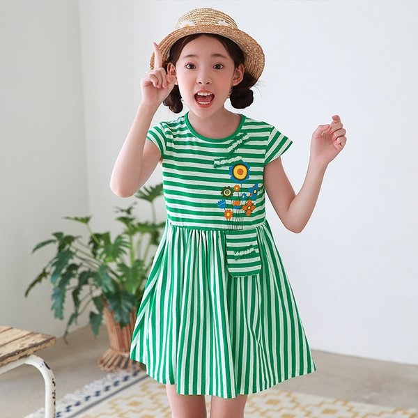 Korean version of the summer new children's clothing in the children's cotton girls' skirts striped cotton cute dresses hair dress