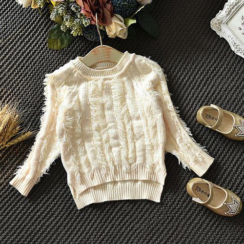 WLG girls autumn spring warm sweaters kids casual beige black knitted tassel cardigan baby long sleeve all match clothes 2-7T