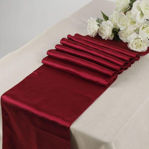 Ev Tekstil Runner Saten Tablo İkincisi bordo (1 Adet) 12 \ Düğün olay Dekorasyon