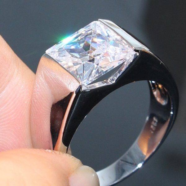 Vecalon Brand Desgin Shinning Luxury Jewelry 925 Sterling Silver Solitaire White Topaz CZ Diamond Gemstones Office Men Wedding Bandf Ring