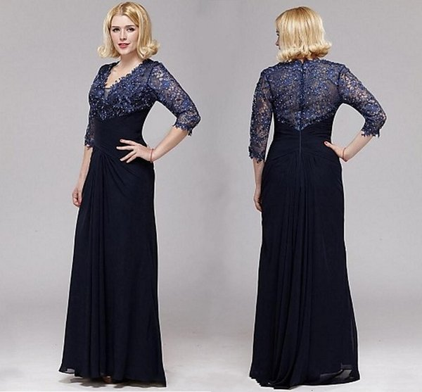 Vintage Lace Sheer Neck V-neck A-line Lace And Chiffon Mother Of The Bride Dresses 3/4 Sleeve Floor Length Mother Dresses