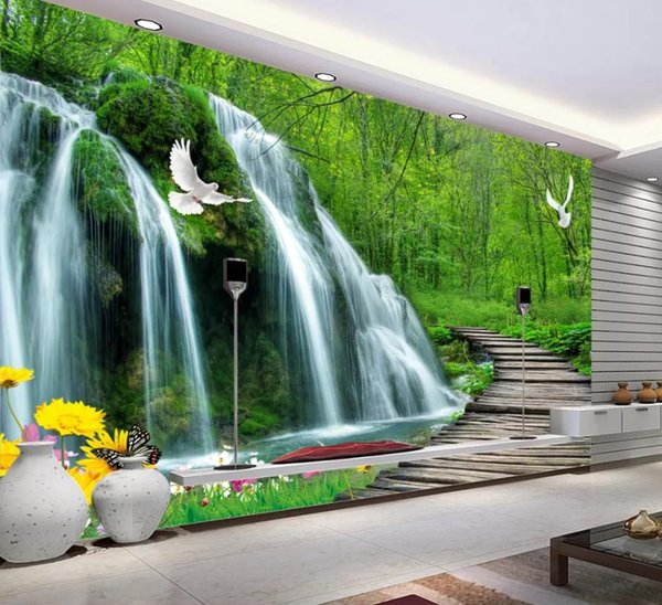 Waterfall Wooden Bridge 3d Tv Background Wall Decorative Painting Beautiful Scenery Wallpapers Free Screensaver Wallpaper Free Screensavers And