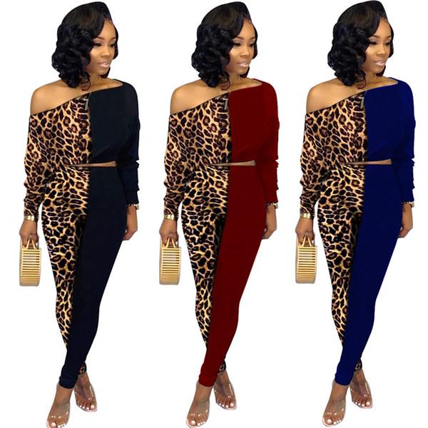 Womens abbigliamento sportivo a manica lunga con cappuccio abiti 2 pezzo collant insieme tuta da jogging vestito di sport felpa tuta pantalone leopardo pannelli klw2616