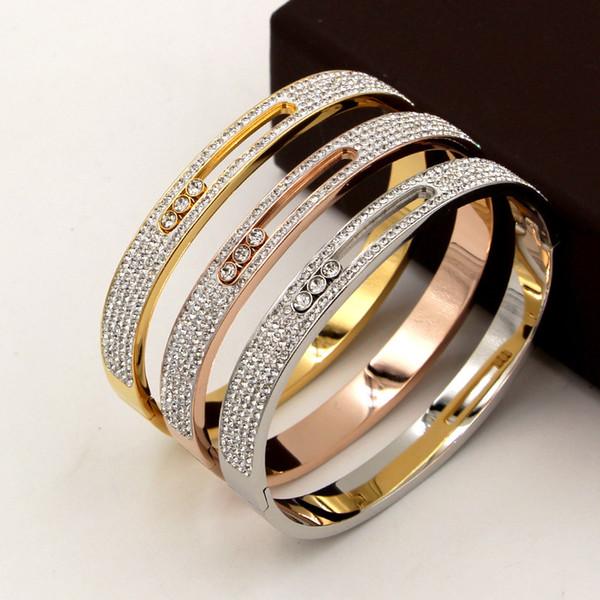 Accesorios de boda Amantes de alta calidad Pulseras de acero de titanio Amor Con brazalete de diamantes móvil en 57 mm OL Envío gratis