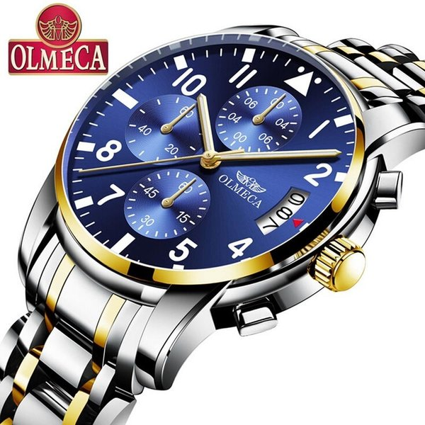 OLMECA Mens Watches Top Brand Luxury Stainless Steel Quartz Military Watch Wrist Chronograph Men Watches Date Wristwatches