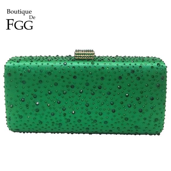 Turquoise Green Diamond Women Metal Box Crystal Clutch Evening Bags Hard Ladies Wedding Party Cocktail Shoulder Handbag Purse