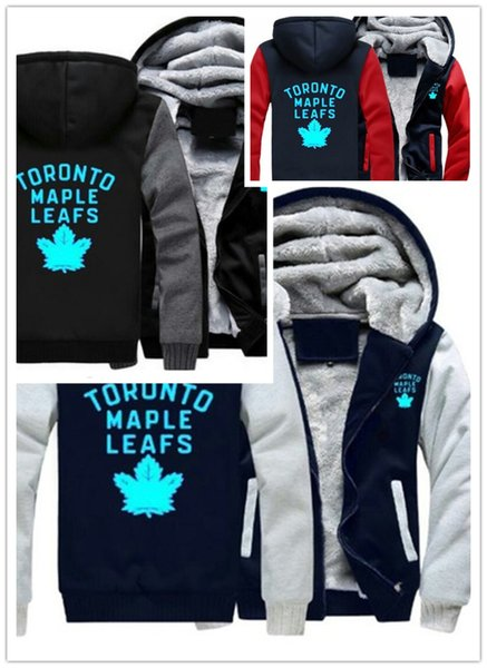 Winter hoody toronto maple leaf hockey team men women warm fleet hoodie autumn clothe weat hirt zipper jacket fleece hoodie treetwear, Blue;black