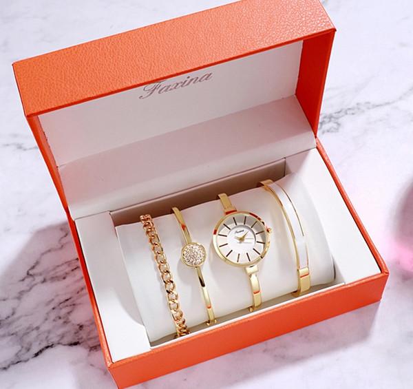 Fashion Business élégant Tendance Simple Montre Casual bracelet à quartz avec des perles Bracelet chaîne 4pc / Set Avec détail Boîte cadeau d'anniversaire