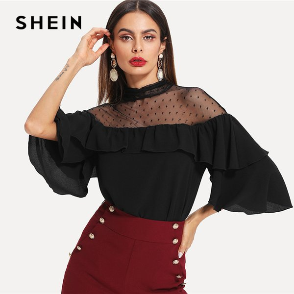 Shein Black Elegant Stand Collar Dot Mesh Insert Keyhole Back Flounce Sleeve Blouse Spring Fall Women Workwear Casual Shirt Top T190409