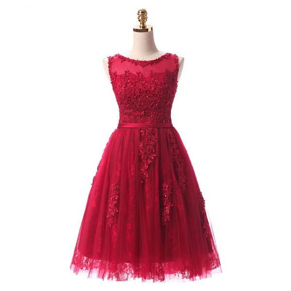 2019 New Robe De Soiree Wine Red Lace Embroidery Sleeveless A-line Evening Dresses Banquet Elegant Party Forom Dress 486