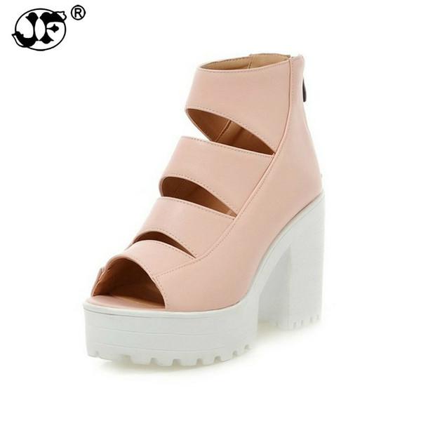 Brand Design Cut Outs Peep Toe Women Summer Boots High Heels Platform Zip Up Shoes Woman Big Size 34-43 thu78