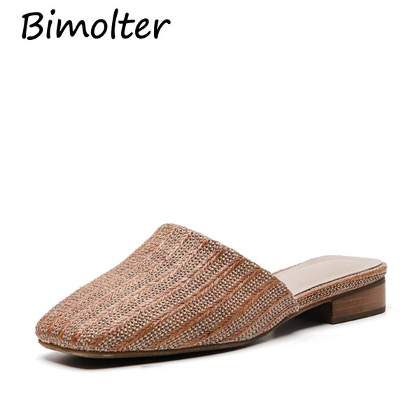 Bimolter Natural tropical royal rattan home slippers, Leather Inside rattan cane grass weaving women slippers shoes Slides NC051