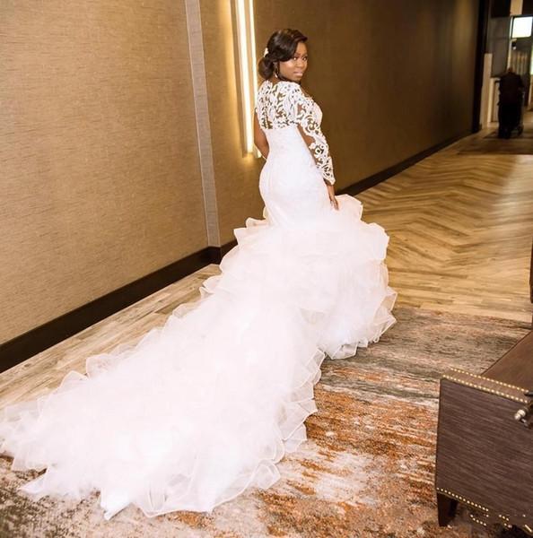 top popular Sexy African Mermaid Wedding Dresses 2020 vestido de novia Backless Applique Bridal Gowns robes de mariée Plus Size Bride Dress 2020