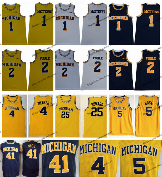 2019 Michigan Wolverines 1 Charles Matthews 2 Jodan Poole 5 Jalen Rose 4 Chris Webber 25 Juwan Howard 41 Glen Rice College Basketball Jersey