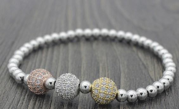 8mm xj545 gold silver ball bead micro pave cz zircon cubic zirconia Bracelet Chakra Macrame Charm Braided Copper Rope Bangles