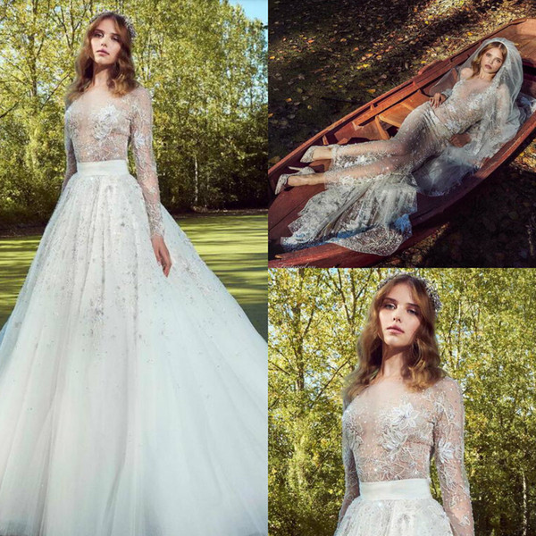 Zuhair Murad 2019 Wedding Dresses Two Pieces Lace Long Sleeve Beaded Beach Wedding Dress Sexy Boho Bridal Gowns robe de mariée