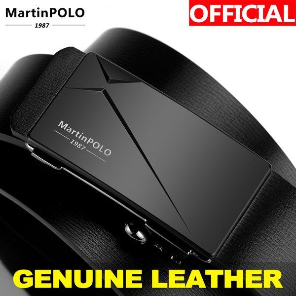 Martinpolo 2019 erkek Kemer İnek Deri Kemerler Marka Fahsion Otomatik Toka Erkekler için Siyah Hakiki Deri Kemerler MP01301P