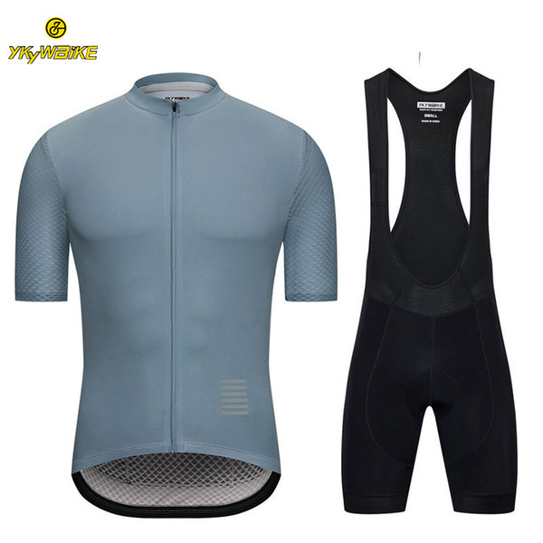 YKYWBIKE Cycling Bib Sets 2019 Men Summer Short Sleeve Jersey Cycling Clothing High Density High Elasticity Sponge Padded Custom Design