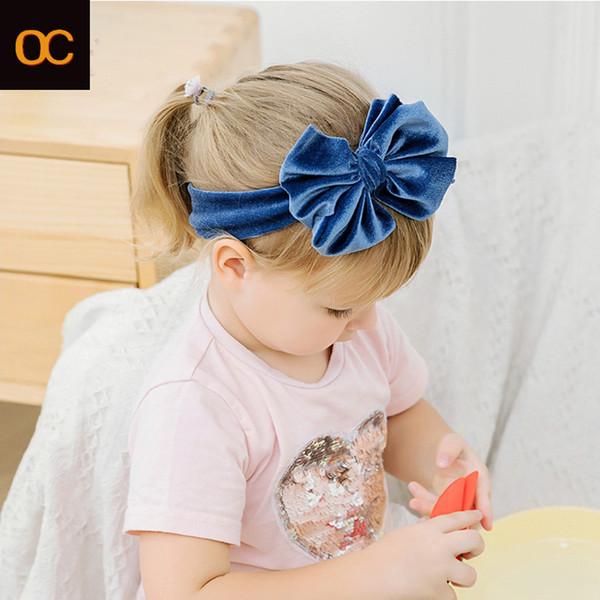 top popular OC's Children's accessories Headband Solid color flannelette Nylon hair accessories large size Baby hair band Velvet Custom logo 2020