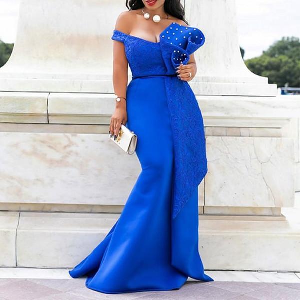 Abito lungo da donna con spalle scoperte Sexy sirena Slash Bead Fashion Abito skinny Prom Evening Lady Elegante 2019 Abiti estivi maxi Y19070801