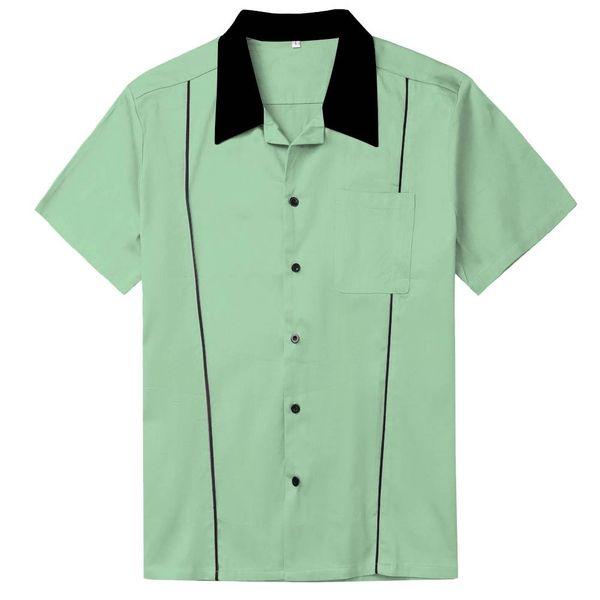 Camisa de bolos Rockabilly para hombre Camisa punk rave de manga corta vintage Hip Hop para hombre Camisa Masculina Chemise Bowling Homme L-XXL
