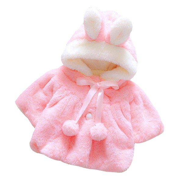 WHYY-Newborn Baby Girls Autumn Winter Hooded Coat Cloak Jacket Thick Warm Clothes (pink)