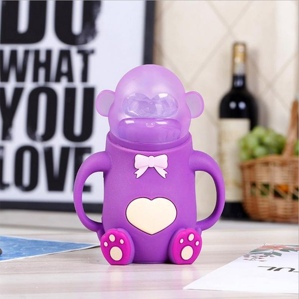 260ml Baby Silicone Pacifier Bottle Cute Cartoon Monkey Bear Shaped Wide Mouth Shatter Resistant Handle Feeding Glass Bottle