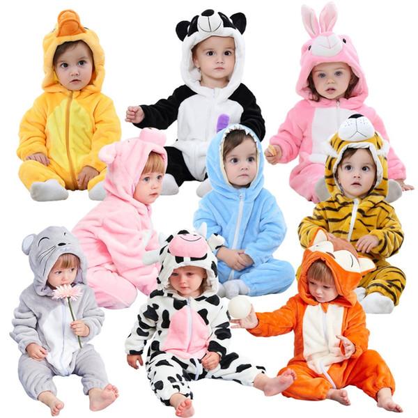 Pijamas suaves para niños Pijamas de franela de invierno Pijamas de bebé de franela Caricatura de animal Túnicas Cremallera frontal de invierno Mono