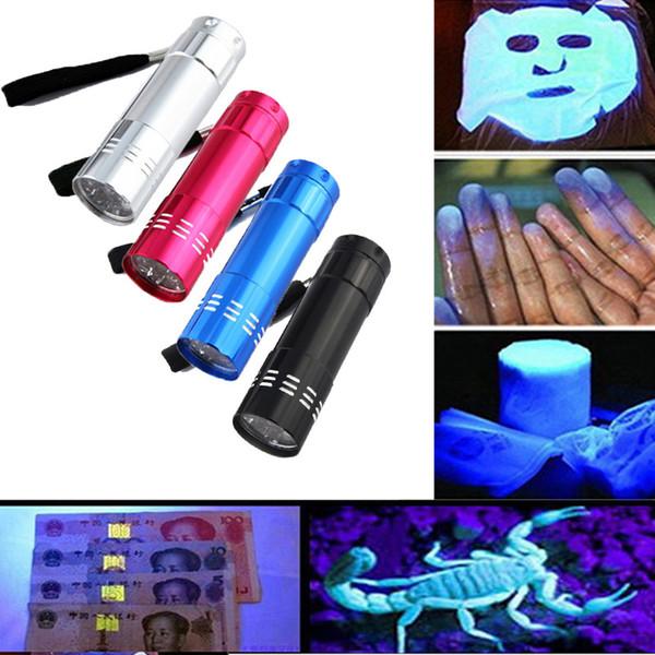 Wholesale-Aluminium Mini Portable UV Ultra Violet Blacklight 9 LED Flashlight TAluminium Mini Portable UV Ultra Violet Blaorch Light DHL