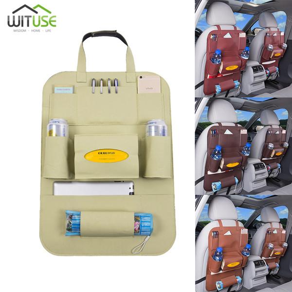 Meilleur sac de rangement de siège de voiture en cuir Multifonctionnel boîte de rangement siège de voiture sac à dos sac d'accessoires de voyage créatifs Boîte étanche propre