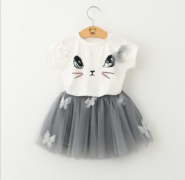 The new girl cute soft cotton cat T-shirt with cute bitter fleabane skirt veil children 2 pieces suits tutu dress Baby kids Sets
